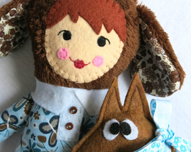 JACINTA AND SEBASTIAN, stuffed handmade doll and dog softie with storybook included by Lilo-limón