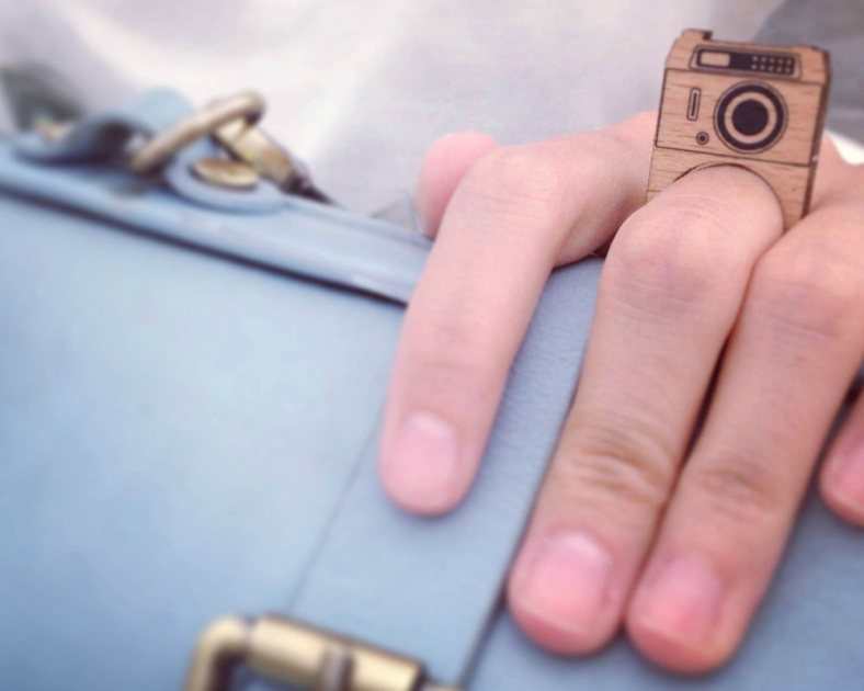 Wooden puzzle ring - camera by miteta