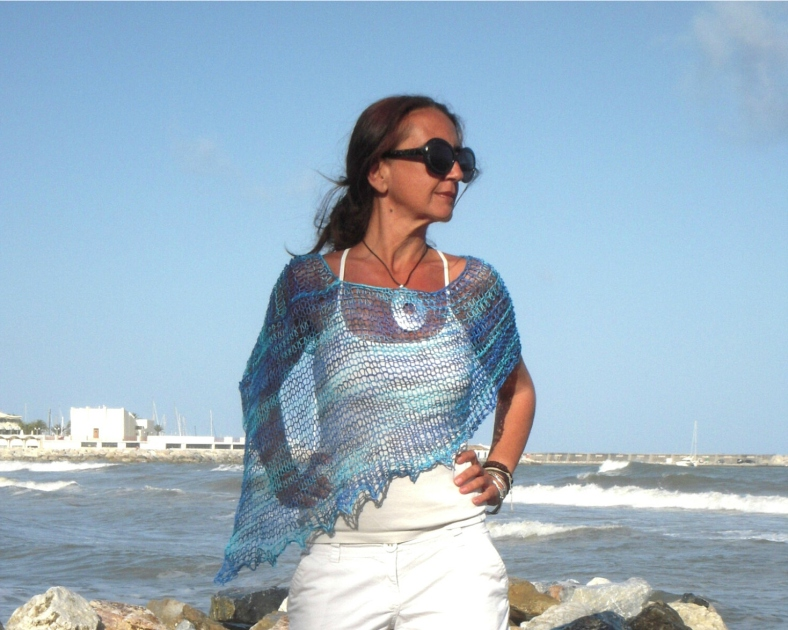 Linen hand dyed,eco-frendly yarn, summer knit, linen poncho by EstherTg