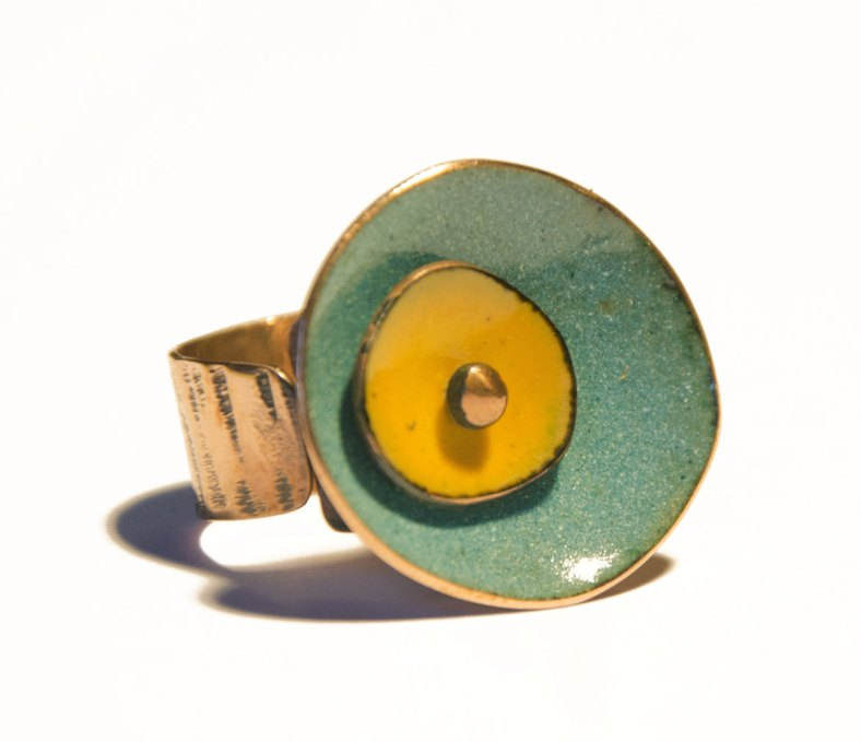 Rustic Double Circle enamel on copper ring by Cuprita