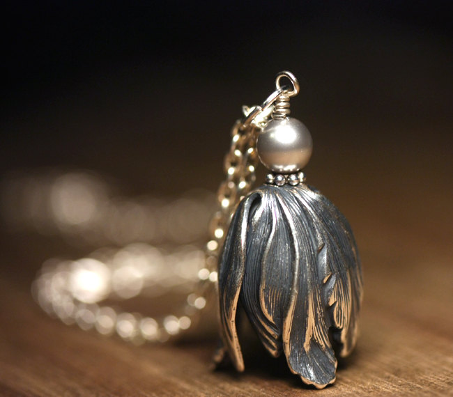 Silver Tulip Necklace by lamaisondefloria