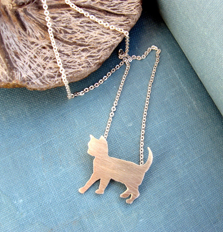 Sterling silver cat necklace by lunahoo